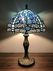 Vintage Table Lamp Stained Glass Retro Style Dragonfly Reading Light Shade USA $99.48