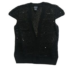 Cejon Black Sequin Crochet Cap Sleeve Cardigan