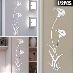 Mirror Flower Decal Art Wall Stickers DIY Home Living Room Decor Removable Mural $8.98