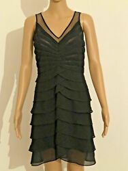 SCARLETT NITE BLACK COCKTAIL EVENING PARTY DRESS SIZE 6 TIERED LAYERED C21