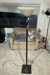 Modern Torchiere Floor Lamp with Marbleized Amber Glass Shade $30 $30.00