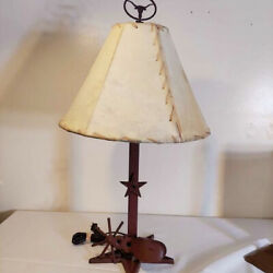 Wrought iron Western spurs cowhide Texas cowboy ranch rustic lamp $59.99