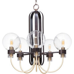 Maxim Lighting 30516CLBZSBR Bauhaus Chandelier Bronze and Satin Brass $334.90
