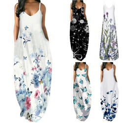 Women Printed V Neck Sleeveless Strappy Dress Ladies Formal Party Maxi Dress US $23.39
