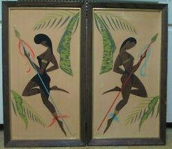 Turner Wall Accessory Mid Century Art 3 D Native Boy amp; Girl Hand Painted Signed $145.00