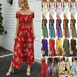 Women Loose Boho Floral Maxi Dress Ladies Party Evening Holiday Beach Dresses US $17.89