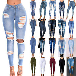 Women High Waisted Stretch Skinny Denim Jeans Slim Casual Jegging Ripped Pants $16.49