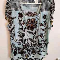 Soft Surroundings Boho Coin Floral Print Blouse Size 1X $19.99