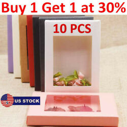 10Pcs DIY Vintage Kraft Paper Gifts Box Cake Candy Package with Clear PVC Window $8.75