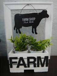 Farmhouse Style Home Décor Wood frame with small crate greenery metal cow $16.95
