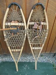 GREAT VINTAGE Snowshoes 45quot; Long x 12quot; with Leather Bindings DECORATION $49.83