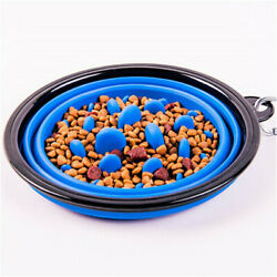 Portable Silicone Travel Bowl Anti Swallowing Pet Slow Food Feeder $12.99