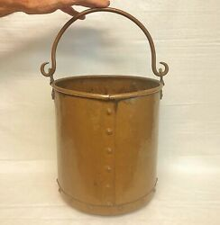 FABULOUS Antique English 18quot; Hand Forged Solid Copper Pail Bucket Coal Scuttle $299.00