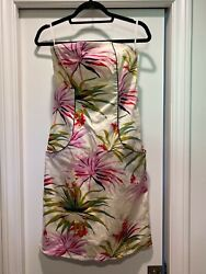 Pamela Brown Dress Floral Size 12 Strapless Cotton Fully lined Boned Bodice $15.00