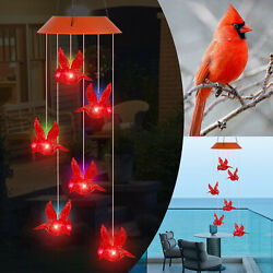 Solar Powered LED Red Cardinal Bird Wind Chime Color Changing Light Yard Decor $14.98