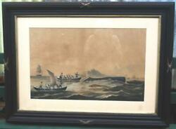 antique whale whaling print Chase 1859 $575.00