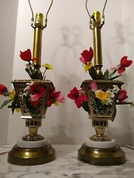Marble amp; Metal Pair Of Vintage Lamps w Faux Flowers Rewired Cords Sockets $398.00