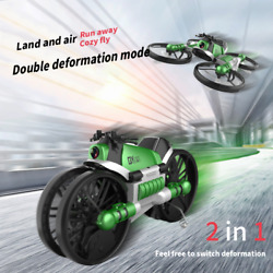 WiFi FPV RC Drone Motorcycle 2 in 1 Foldable Helicopter Camera 0.3MP Altitude Ho $61.05