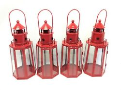 Modern Nautical Maritime Red Candle Holders Glass Panel Lanterns Lamps $129.99