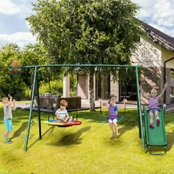 Metal Swing Set with Slide for Backyard Garden Park Complete Kids Playground NEW $346.98