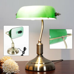 110V Traditional Desk Lamp Vintage Green Glass Shade Piano Table Light E27 NEW $47.01