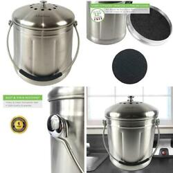 Abakoo Compost Bin 304 Stainless Steel Kitchen Composter Waste Pail Indoor Count $54.99