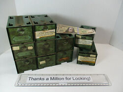 10 Old Industrial Metal Parts Cabinet Stackable Drawers Small Bins w PARTS $84.97