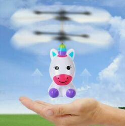 NEW Flying Unicorn Glowing Flying Helicopter Drone Remote Control Toy USB Charge $14.99