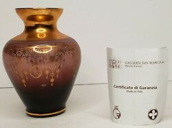 Vintage Murano Cranberry Glass 24 Kt Gold Leaf Hand Painted Gilt Vase Italy $69.00