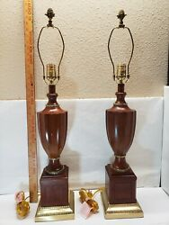 Pair Of Bombay Company Concord Inlaid Heavy Wood amp; Brass Lamps Excellent $295.00