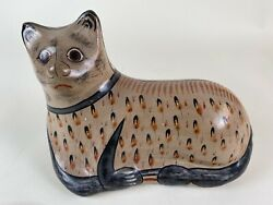 Tonala Mexican Pottery Cat LARGE Mexican Folk Art Hand Painted Signed SOLIS $100.00