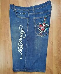 Ed Hardy Denim By Christian Audigier Mens Long Jean Shorts 38x15 Great Condition $28.50