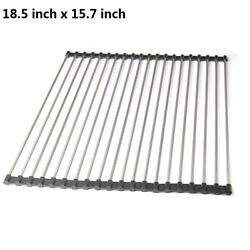 Kitchen Stainless Steel Sink Drain Rack Roll Up Dish Food Drying Drainer Mat XXL $9.99