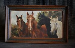 Antique Oil Painting with Original Carved Wooden Frame 4 Horses Signed $200.00