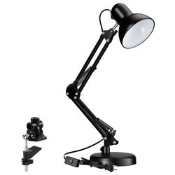 Metal Swing Arm Desk Lamps Adjustable Table Lamp with Interchangeable Clamp Base $21.39
