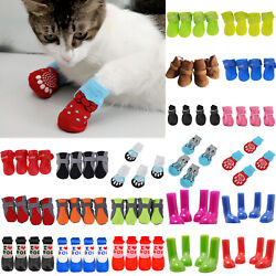 4Pcs Pet Dogs Cat Boots Paw Protective Soft Socks Footwear Puppy Outdoor Shoes $6.55