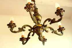 FRENCH VINTAGE SOLID BRONZE ROCOCO CHANDELIER 6 ARMS 5.20 Kg MODEL DEPORTE GBP 280.00