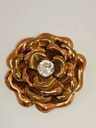 Vintage Shades of Gold Tone Flower with Large Rhinestone Center Brooch Pin $9.95