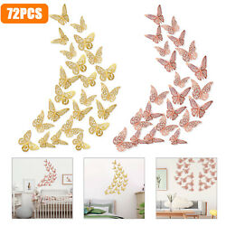 72PCS DIY Self Adhesive Butterfly Wall Art Stickers Decals Room Removable Decor $10.48