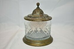 Vintage Brass and Glass Candy Dish with Brass Lid with Patina $27.95