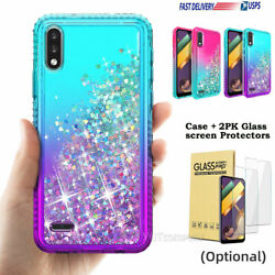 For LG K22 K22 Plus Case Liquid Glitter Cute Cover Tempered Glass Protector $8.99