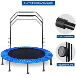 """48"""" Mini Foldable Trampoline With Bar Urban Rebounder Bouncing Exercise Yoga Gym $72.99"""