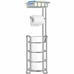 Toilet Paper Holder Toilet Paper Stand with 4 Raised Feet Metal Silver $33.29