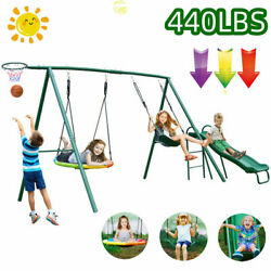 4in1 Metal Swing Set with Slide for Backyard Garden Park Kids Playground 440lbs $369.55