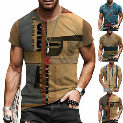 T Shirt Mens Vintage Printed Short Sleeve Blouse Summer Casual Fitness Tops Tee $14.11