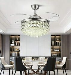 42quot; Modern LED Chandelier Crystal Ceiling Fan with Light Remote 3 Color Change $218.49