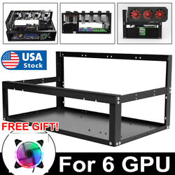 Open Air Miner Mining Frame Rig Case Up to 6 GPU for Coin Crypto Currency Steel $68.99