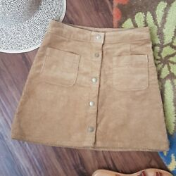 Brown Corduroy Boho Snap Front A Line Mini Skirt Juniors Size 3 Small $20.00