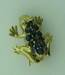 10K Yellow Gold Sapphire Antique Frog Lapel Pin 050621 $169.99