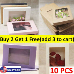10Pcs DIY Vintage Kraft Paper Gift Box Cake Candy Package with Clear PVC Window $9.46